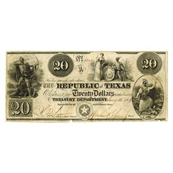 Republic of Texas, Pleasing 1840 $20 Note.