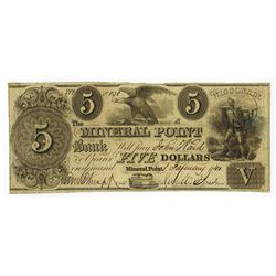 Mineral Point Bank, 1840 Issued Obsolete Banknote.