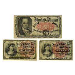 U.S. Fractional Currency, 1863-1875, Trio of Issued Notes