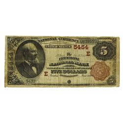 Freedom National Bank, $5, 1882 2nd Charter, 5454, Fr#477.