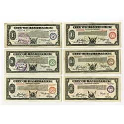 City of Hamtramck, Michigan, 1933-1934 Matching Serial Number Depression Scrip Assortment.