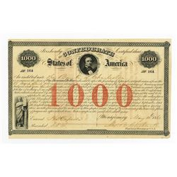 Confederate States of America, 1861, $1000 Act of February 28, 1861, 8%  Bond.