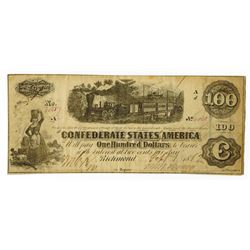 C.S.A.  1862 $100 T-40,  CR-307 Issued banknote.