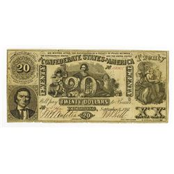 C.S.A. $20, 1861, CT-20/141A, Contemporary Counterfeit Banknote.
