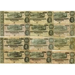 C.S.A. 1864, $10, Lot of 12 notes.