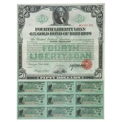 Fourth Liberty Loan for $50, 1918, Issued with 36 Coupons.