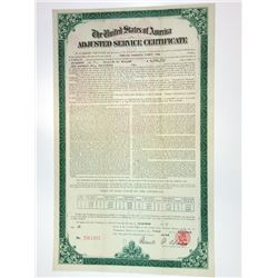U.S.A. Adjusted Service Certificate, 1927, World War Adjusted Compensation Act Certificate.