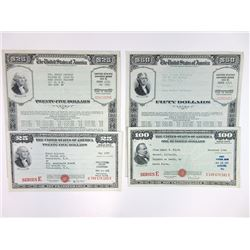 U.S. War Savings Bond Pair and Series E Pair, ca. 1943-48.