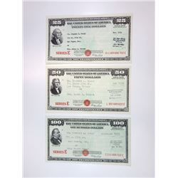U.S. Savings Bond, Series E, 1953 to 1956 Lot of 3 bonds, all with Humphrey signatures.