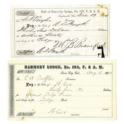 California Masonic Check Pair ca. 1874-1917.