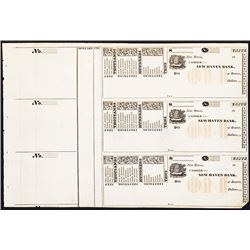 New Haven Bank, Uncut Sheet of 3 with Check Protectors.