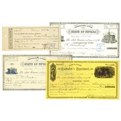 Controller's Office - State of Nevada, Lot of 3 different ca.1888-1898 Warrants.