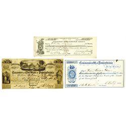 Pennsylvania Warrant and Check Trio, ca.1843-1866.