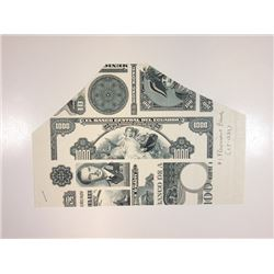 American Bank Note Co., ca.1960-70's Proof  Vignette Sheet with Ecuador, Haiti, Hong Kong and Other