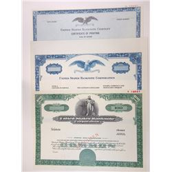 United States Banknote Corp., 1980s Trio of Specimen Stock Certificates