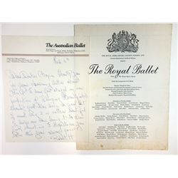 Robert Helpmann, Artistic Director of the Australian Ballet, 1963 Letter and Program signed by him.