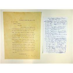 Albert Paine, Mark Twain Biographer, Letter from 1910 to William H. Allen.