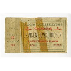 XI Olympiade Berlin 1936 Ticket, August 8 1936 for Wrestling & Weight Lifting.