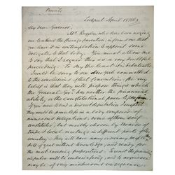 Washington Hunt, 17th Governor of New York, Letter dated 1963 to New York Governor Horatio Seymour.