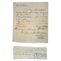 Receipts and I.O.U's ca.1781-1797 for Clothing for the Army During the Revolution.