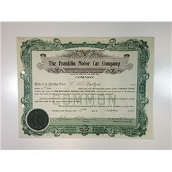 Franklin Motor Car Company, October 17th, 1929 I/U Stock Certificate.