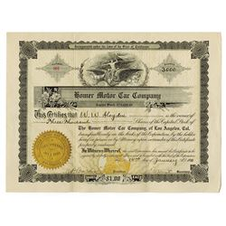 Homer Motor Car Co., 1911 Issued Stock Certificate.