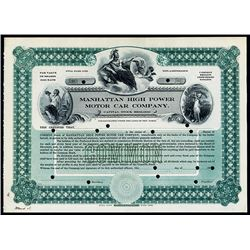 Manhattan High Power Motor Car Co., ca.1900-1910 Specimen Stock Certificate