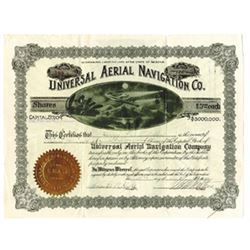 Universal Aerial Navigation Co., 1911 Issued Stock Certificate.