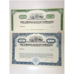 National Bank of Commerce in New Orleans 1968 Pair of Specimen Stock Certificates