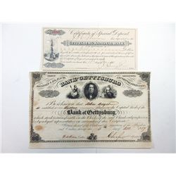 Gettysburg National Bank 1857 Stock Certificate and CD, 1898