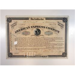 American Express Co., 1873 Cancelled Stock Certificate With William Fargo Signature.