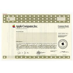 Apple Computer Inc., 1999 Specimen Stock Certificate.