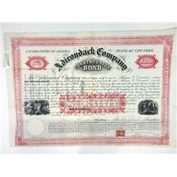 Adirondack Co., 1864 Issued Bond With Archivally repaired Splits at folds