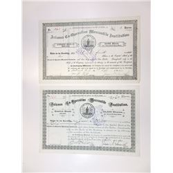 Arizona Co-Operative Mercantile Institution, Mormon related company, 1889-1893 Stock Certificate Pai