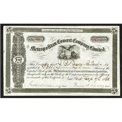 Metropolitan Concert Co., 1880 Stock Certificate.