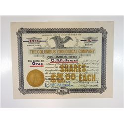 Columbus Zoological Company, 1903 Issued Stock Certificate