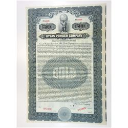 Atlas Powder Co., 1921 Specimen Gold Coupon Bond.