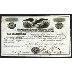 Empire City Bank, 1852 Stock Certificate.