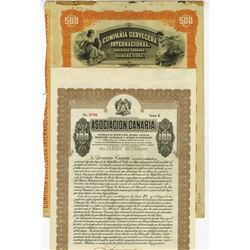 Pair of Cuban Bonds, ca.1915-1925, 2 Pieces.