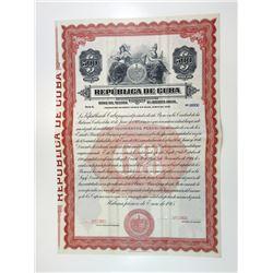 Republica de Cuba, 1915 Specimen Bond