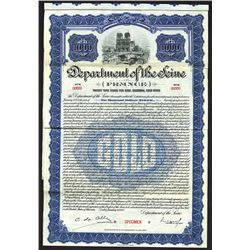 Department of the Seine, 1922 Specimen Gold Bond.
