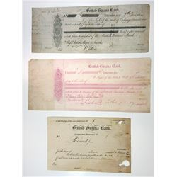 3 Certificates of Deposit for British Guiana Bank ca. 1800s-1900s