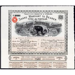 Ivory Coast Goldfields, Limited Stock Certificate.