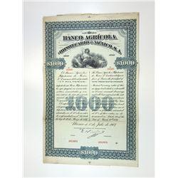 Banco Agricola e Hipotecario de Mexico, S.A., 1897 Specimen Bond