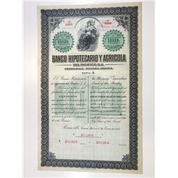 Banco Hipotecario Y Agricola 1913 Specimen Bond