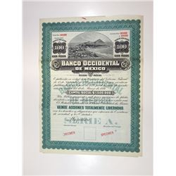Banco Occidental de Mexico, 1897 Specimen Bond