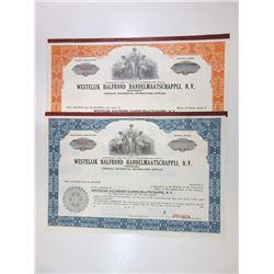 Westelijk Halfrond Handelmaatschappij, N.V. Pair of Specimen Certificates ca.1940-1950