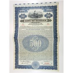City of Bergen, 1924 Specimen Bond