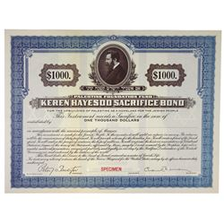 Palestine Foundation Fund - Keren Hayesod Specimen Sacrifice Bond 1922