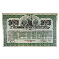 Anglo-French External Loan, 1915 Specimen Bond